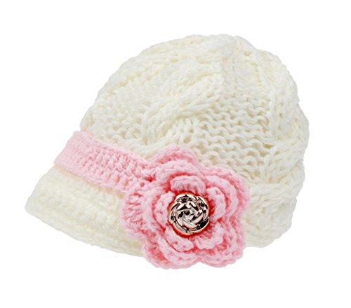 bestknit Bambina Neonati a mano all' uncinetto cappello visiera a maglia White L