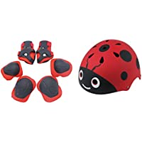 Bicicleta Casco Niños Set, lommer 7 pieza set de casco infantil con diseño de mariquita