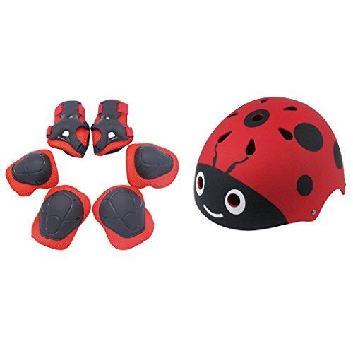 MRKE 7 Stück Helm Knieschoner Set Kinder Kit Helm Kinder Knie Ellenbogenschoner Kinder Schutzhelm Schützendes Knie für Kinder, 3-13 Jahre, 50-54cm (Red)