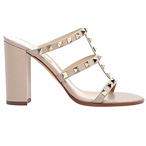 Chris-T Chunky Heels for Womens Studded Slipper High Block Heel Sandals Open Toe Slide Studs Dress Pumps Sandals