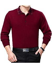 GKKXUE Maglione da Uomo con Risvolto Sportivo da Uomo (Colore   Red 177b496e6a1