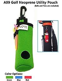 A99Golf utilidad bolsa neopreno para pelotas de golf tees–Bolsa para accesorios con clip, rojo