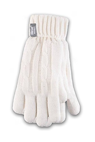 Heat Holders Ladies Cable Knit Gloves, Cream, Small/ Medium - Cream Cable Knit