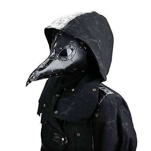 Gothic Herren Und Damen Mode PU Leder Felsen Maske Für Cosplay Kostüm Steampunk Mittelalter Retro Staubdicht Masquerade Maske (Schwarz) (Masquerade Damen Kostüm)