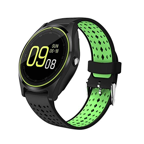 ZEPAD V9 Bluetooth Smart watch with SIM Card Support | Micro SD card Support | Facebook | Whatsapp | Activity Tracker | Fitness Band | Music | Camera with Video Recording | Better Display | Loud Speaker | Microphone | Touch Screen | Multi-Language Comes In Golden Color Compatible With iBall Andi 5G Blink 4G And All Other Smartphones.(GREEN-BACK)