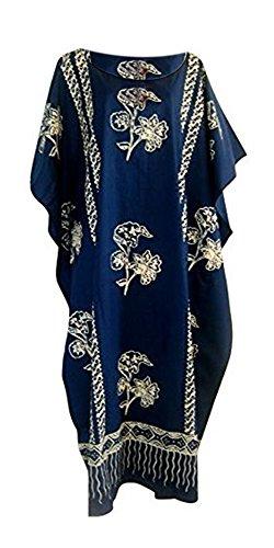 Coole Kaftan JAVA Bedrückte Baumwolle Strandkaftan Kaftankleid Einheitsgröße Übergröße Damen Hand Made Batik Strand - Blau, XXL (Afrikanischer Kaftan)
