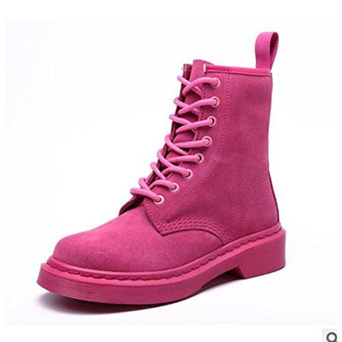 HSXZ Scarpe donna pu Autunno Inverno Comfort stivali Chunky tallone punta tonda Babbucce/stivaletti di abbigliamento casual Khaki NERO ROSA Pink