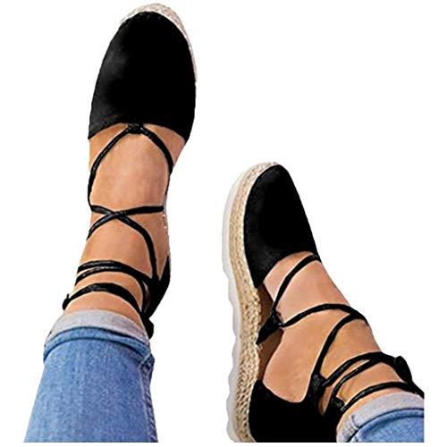 Dorical Slippers Espadrilles für Damen,Frauen Low Top Frauen Plateau 2 cm Leicht Bequem Segeltuch Elegant Flache Schuhe Schnürsenkel Freizeitschuhe Gr 35-44(Schwarz,37 EU) -