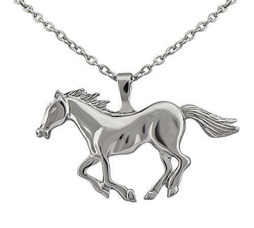 Hanessa Damen-Schmuck Edle Pferd Halskette in Silber Tier-Freund Geschenk zu Weihnachten für Mädchen Pferdeliebhaber Reiten
