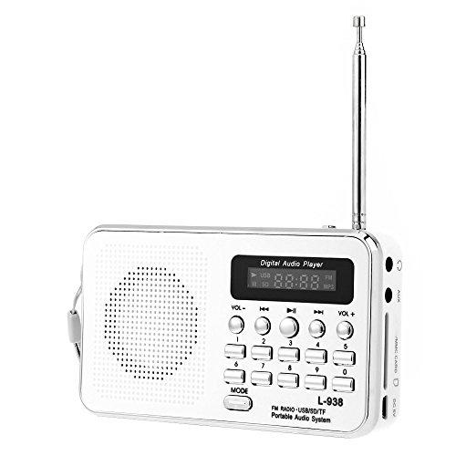 iMinker Mini-Digital-beweglicher FM Radio-Mittel-Lautsprecher MP3-Musik-Spieler TF / SD Karte Usb-Scheiben-Hafen für PC iPod-Telefon mit LED-Anzeige und Akku (Weiß)