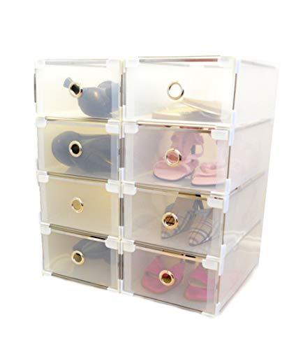 Periea - Boîtes en Plastique pour Le Rangement et l'organisation des Chaussures - Empilables - 5 Tailles - (Della, Idéal pour Les Chaussures pour Dames - Paquet de 8)