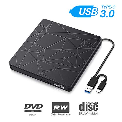 Externes DVD Laufwerk, SAWAKE CD Brenner PC Player für Laptop, Desktop, Mac, MacBook, Win 10/8/7/XP, Linux, MacOS, Vista7/8 (tragbar, USB 3.0& Typ-C, Plug&Play, niedriger Lärm)