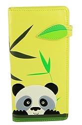 Shagwear Junge-Damen Geldbörse , Large Purse: verschiedene Farben und Designs: (Panda Gelb/ Peeking Panda)