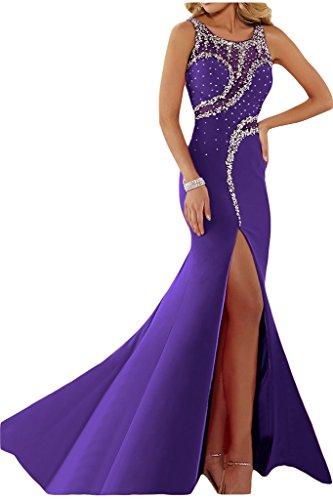 ivyd ressing Femme luxurioes fente col rond pierres Party robe Lave-vaisselle robe robe du soir Violet