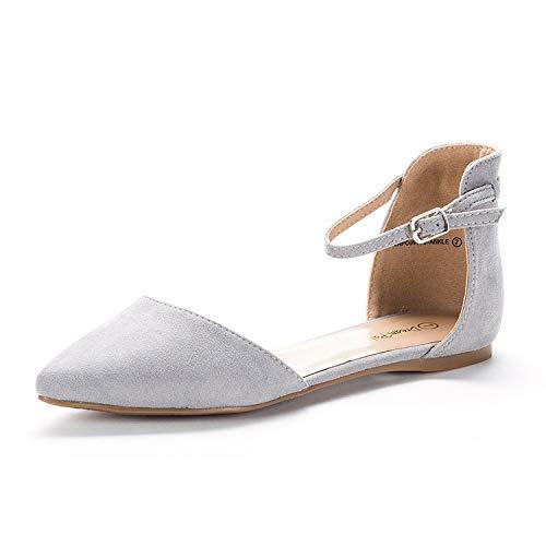 Dream Pairs Flapointed-Ankle Zapatos Planos con Punta Cerrada para Mujer Gris 38.5 EU/7.5 US