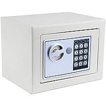 grapest Caja de Seguridad Caja Fuerte Electrónica Barata Incluye 4 Baterías, 2 Llaves (22.5×17×16cm) (Blanco)