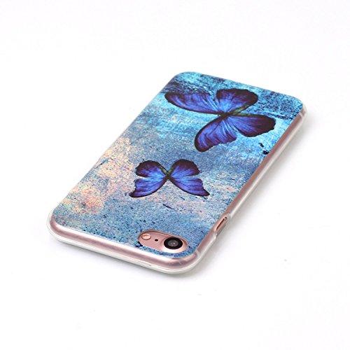 iPhone 7 Coque,iPhone 7 Silikon Case,iPhone 7 Cover - Felfy Ultra Slim Ultra Mince Flexible Souple Soft Gel TPU Silicon Case Clair Cover Coque Housse Couleurs de Motifs Anti Scratch Couverture Coloré  Papillon Bleu
