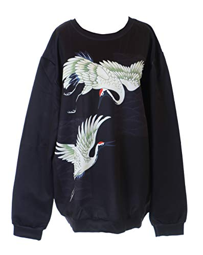 Kawaii-Story WY-1584 schwarz Asia Mandschurenkranich Vogel Grafik Retro Sweatshirt Pullover