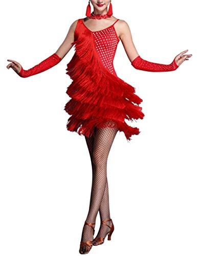 SPDYCESS Frauen Damen Latein Tanzkleid Sexy Tanzkleidung - Quaste Tanzkostüm Samba Tango Rumba Ballsaal Party Kleider Karneval Latin Dress mit Handschuhen