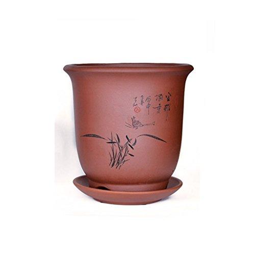 BOBE SHOP Pot de fleur d'orchidée de sable pourpre avec plateau Planteur de pot de plante succulente en céramique 21 * 21 * 22CM ( Couleur : #1 )