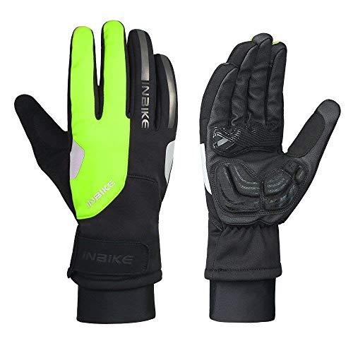 INBIKE Fahrradhandschuhe Winter Warm Winterhandschuhe Handschuhe Herren Winter Winddicht Touchscreen Wasserdicht Reflektierend für Radsport Skifahren Motorradfahren(Grün-Lang,XL)
