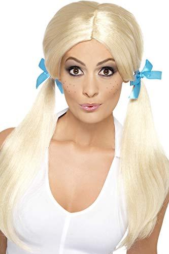 Perücke Fever Blonde Kostüm - Smiffys Damen Freches Schulmädchen Perücke mit Zöpfen und Gummiband, One Size, Blond, 43275