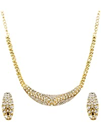 Bling N Beads 18K Gold Plated Bridal Necklace Set With Earrings For Her Wedding