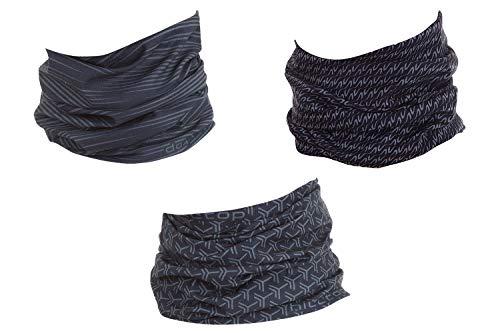 Hilltop 3 x Motorrad Multifunktionstuch, Schlauchtuch, Sport-Halstuch, Bandana / 3-er Set in ausgewählten Designs, 3er Set/Farben:black grey selection