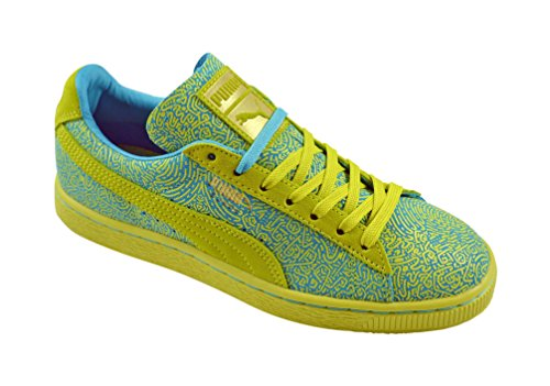 Puma suede classic wn's lines jaune soufre) Vert - Sulphur Spring-Blue Atoll