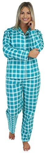 PajamaMania Flanell Pyjama für Damen, Schlafanzug, Smaragd Plaid (PMF1002-2060-UK-LRG)