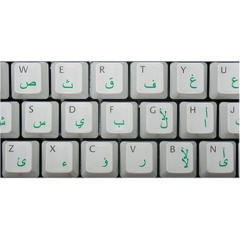 Pegatinas teclado árabe transparente con letras VERDE - Apto para cualquier ordenador o portátil