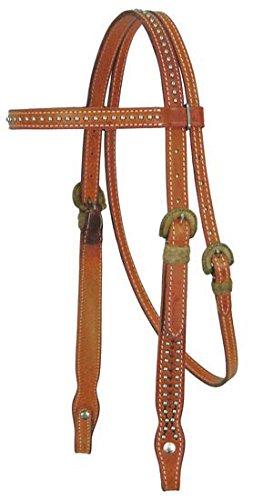 Tahoe Tack USA Mesquite Leder Brow Band Full Pferd Halfter mit Rohhaut & Spots, London Tan