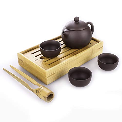 Goodwei Yixing Tee-Set aus Zisha-Ton - Teekanne mit DREI Teeschalen, inkl. Chapan und Teezange