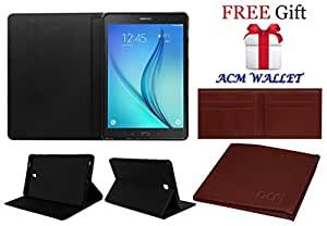 ACM Executive Flip Flap Case for Samsung Galaxy Tab A T355y Tablet Cover Black (Free ACM Wallet Included)