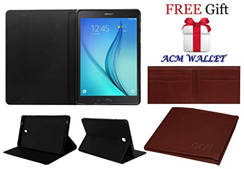 Acm Executive Case For Samsung Galaxy Tab A T355y Tablet Front & Back Flip Cover Stand Black