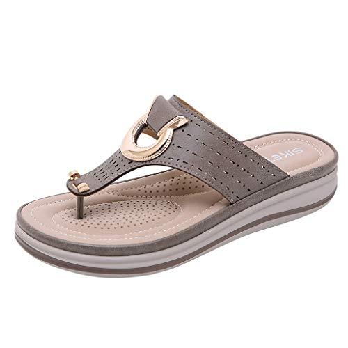Bluestercool Boemia Estate Donne Ladies Metallo Zeppe Sandali Spiaggia Flop Flip Pantofola Scarpe