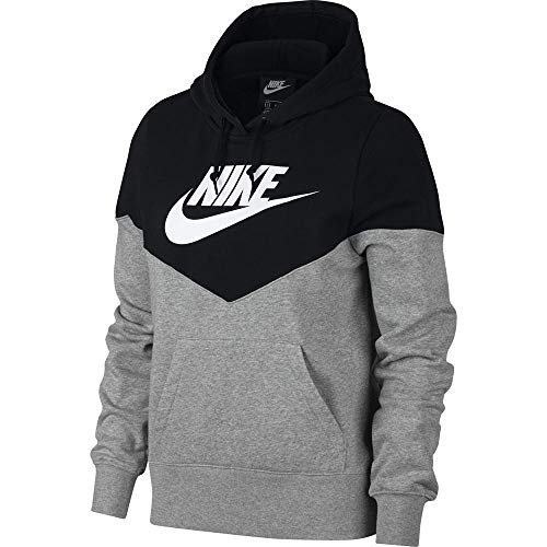 Nike Damen Sweatshirt W NSW HRTG Hoodie FLC, Dk Grey Heather/Black/White, S, AR2509