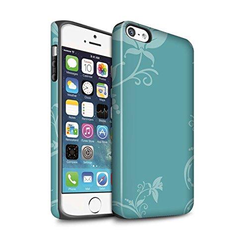 Coque Matte Robuste Antichoc de STUFF4 / Coque pour Apple iPhone 8 / Sarcelle À Pois Design / Mode Hivernale Collection Teal Floral