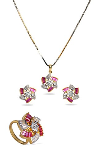 sempre-london-18ct-yellow-gold-two-tone-plated-pink-thread-of-love-designer-trio-pendant-with-design