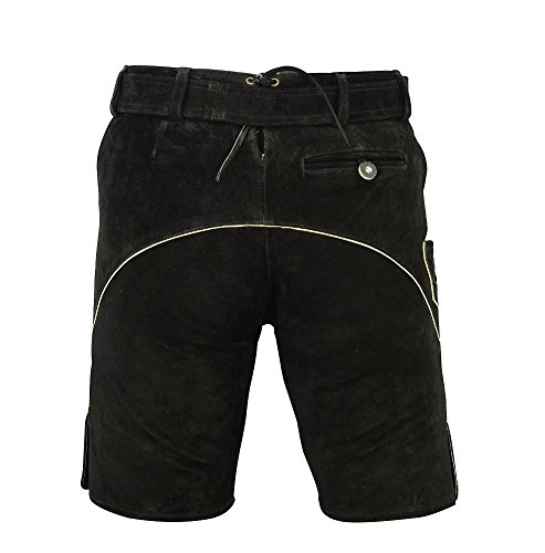SHAMZEE Trachten lederhose Kurz inklusive Gürtel aus Echtleder in Schwarz farbe Schwarz