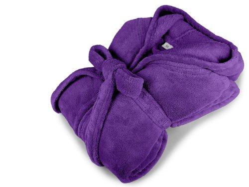 npluseins Kuschelfleece-Bademantel mit Kapuze - erhältlich ein 7 modernen Farben und 5 Größen - unisex & wadenlang, L, lila