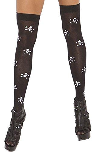 EROSPA® Halloween Halterlose Strümpfe Totenkopf Stockings Skull Overknee Thigh High Gothik Punk Kniestümpfe schwarz S-L