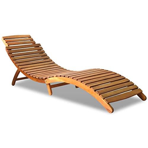 Festnight- Sonnenliege aus Massives Akazienholz | Klappbar Gartenliege Liegestuhl | für Terrasse oder im Garten 190 x 60 x 51 cm Braun