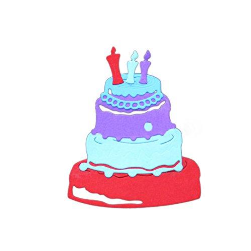 burtstag Kuchen DIY Schneiden sterben Schablone Papier Craft Scrapbooking Zubehör, Karbonstahl, silber, Einheitsgröße (Geburtstagskuchen Cartoon)
