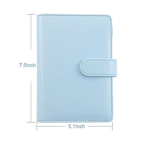 laconile A6PU Leder Spiral Notizbuch, Drahtkammbindung Täglich Wöchentlich Monatlich Agenda Kalender Schreiben Bücher Filofax Planer Organizer mit Stiftschlaufe, Innentasche blau