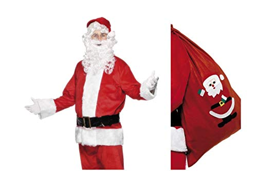 Fancy Dress World Deluxe Complete Santa Claus Father Christmas Costume - Trousers Jacket Belt Gloves Beard Boot Covers FREE Santa Sack - Santa's Grotto Panto Fun 655 (Adult Mens XL 46-48)