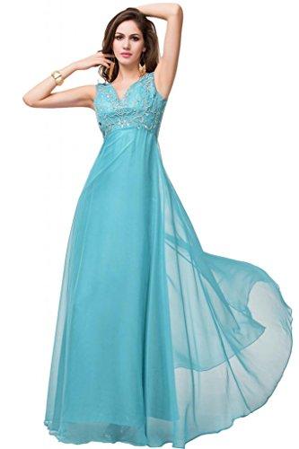 Sunvary, colore: lilla trasparente, vita da donna, scollo Empire Bridesmaid Pageant abiti lunghi Giada