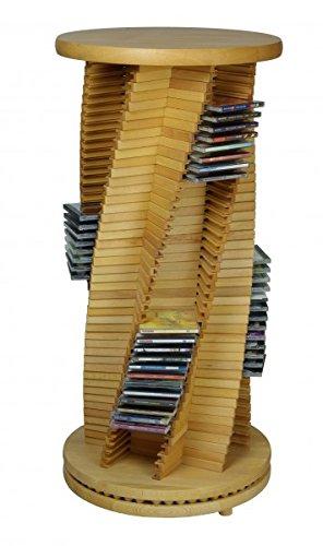 CD-Säule, -Volute- aus Ahornholz in Spiralform, 180 CDs