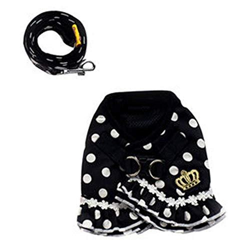 Shanyaid Formidables Hund Haustier Weste Geschirr + Leine Sicherheit Walking Training Kleidung Verhindern Unfälle Weiche Polka Dot Crown Rock (Color : Black+White, Size : M) -
