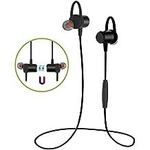 Auricular magnético Auriculares Bluetooth 4.1,DXCEW Cascos con Micrófono y Cancelación de Ruido y Tecnología APTX para Hacer Deporte Correr Running Compatible con para Correr, Compatible con iPhone7, Sony, HUAWEI, XIAOMI etc-Color Negro
